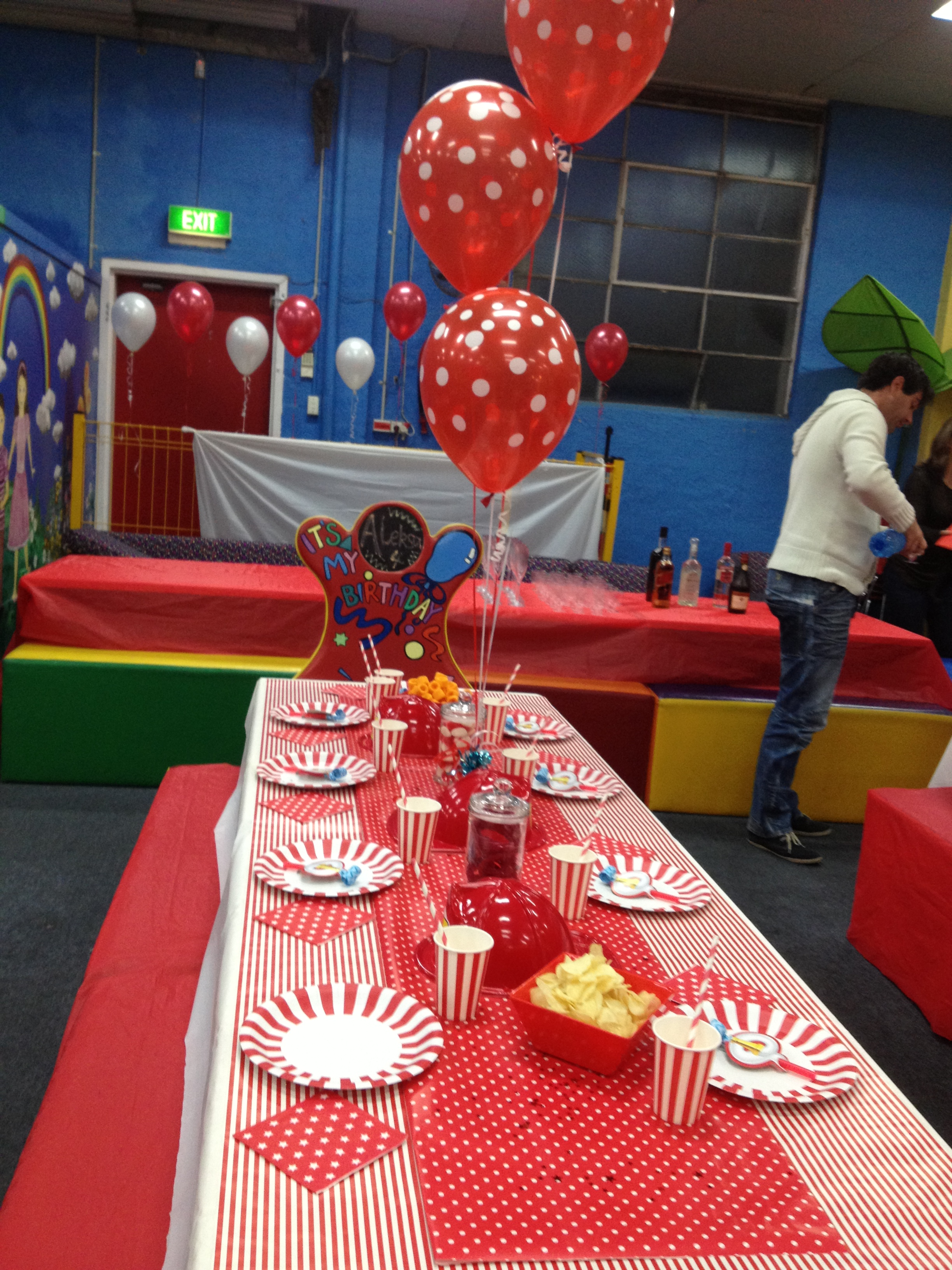 Fire engine party table setting
